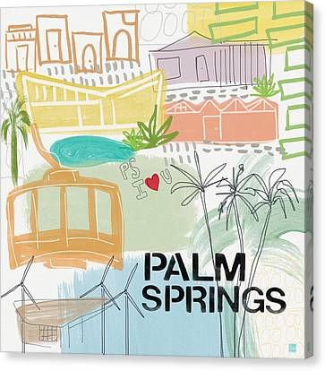 Palm Springs Canvas Print - Palm Springs Cityscape- Art By Linda Woods by Linda Woods