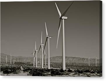 Palm Springs Windmills I In B And W Canvas Print by Kirsten Giving