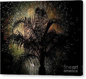 July Canvas Print - Palm Tree Fireworks by David Lee Thompson