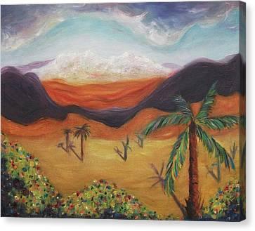 Palm Tree In Desert Canvas Print