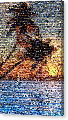 Canvas Print featuring the mixed media Palm Tree Mosaic by Paul Van Scott