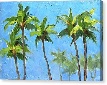 Canvas Print featuring the painting Palm Tree Plein Air Painting by Karen Whitworth