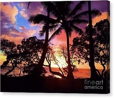 Palm Tree Silhouette Canvas Print by Kristine Merc
