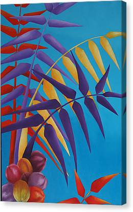 Canvas Print featuring the painting Palm Tree With Coconuts 1 by Karin Eisermann