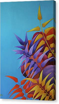 Canvas Print featuring the painting Palm Tree With Coconuts 2 by Karin Eisermann
