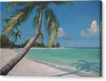 Palm Trees And Beach By Alan Zawacki Canvas Print