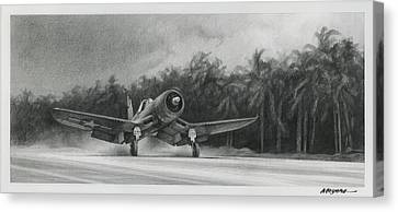 Navy Canvas Print - Palm Trees And Pistons by Wade Meyers
