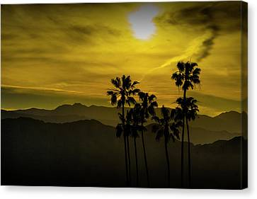 Canvas Print featuring the photograph Palm Trees At Sunset With Mountains In California by Randall Nyhof