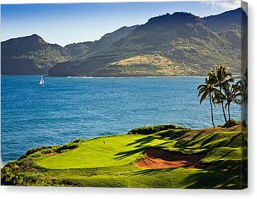 Palm Trees In A Golf Course, Kauai Canvas Print by Panoramic Images