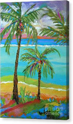 Palm Trees In Landscape Canvas Print by Karen Fields