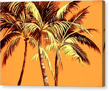 Palm Trees In Sepia Canvas Print