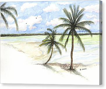 Palm Trees On The Beach Canvas Print