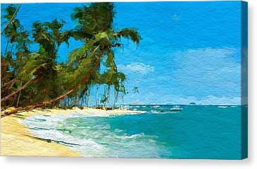 Palm Trees Sway Canvas Print by Anthony Fishburne