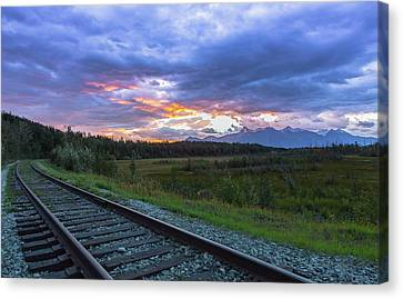 Palmer Alaska Railroad Sunrise Canvas Print by Sam Amato