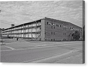 Palmetto Compress Warehouse Bw Canvas Print