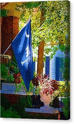 Palmetto Flag Canvas Print by Donna Bentley