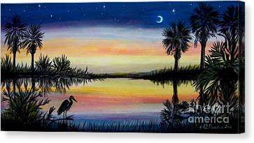 Palmetto Tree And Moon Low Country Sunset Canvas Print by Patricia L Davidson