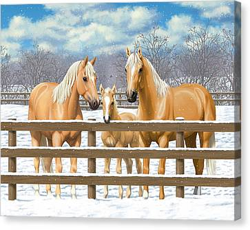 Palomino Quarter Horses In Snow Canvas Print by Crista Forest