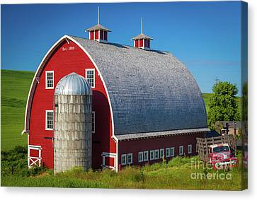 Farming Barns Canvas Print - Palouse Red Barn by Inge Johnsson