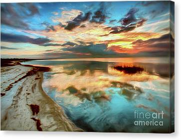 Pamlico Sound Sunset On The Outer Banks Ap Canvas Print