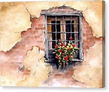 Flower Boxes Canvas Print - Pampa Window by Sam Sidders