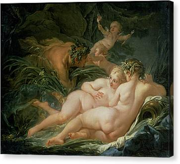 Pan And Syrinx Canvas Print by Francois Boucher