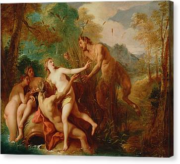 Pan And Syrinx Canvas Print by Jean-Francois de Troy