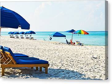 Panama City Beach Florida With Beach Chairs And Umbrellas Canvas Print
