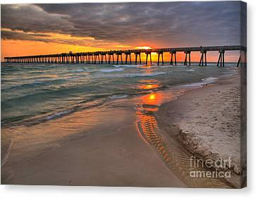 Panama City Pier Fiery Sunset Canvas Print by Adam Jewell