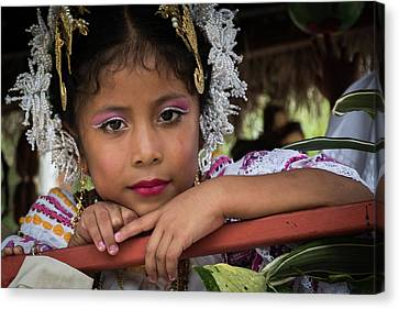 Panamanian Girl On Float In Parade Canvas Print