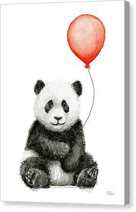 Panda Baby And Red Balloon Nursery Animals Decor Canvas Print by Olga Shvartsur