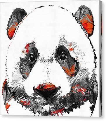 Panda Bear Art - Black White Red - By Sharon Cummings Canvas Print by Sharon Cummings