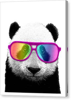 Panda Bear With Rainbow Glasses Canvas Print by Madame Memento