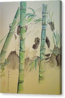 Canvas Print featuring the painting Panda Eating  by Debbi Saccomanno Chan