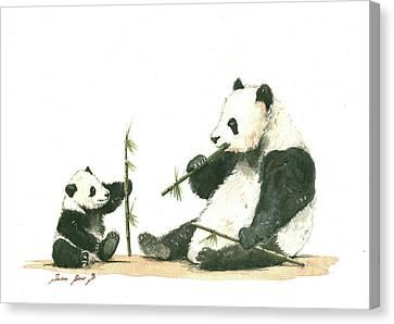 Panda Family Eating Bamboo Canvas Print