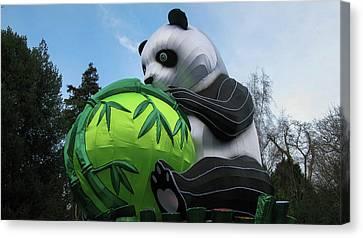 Panda Holding Bamboo Tree Canvas Print by Maria Joy