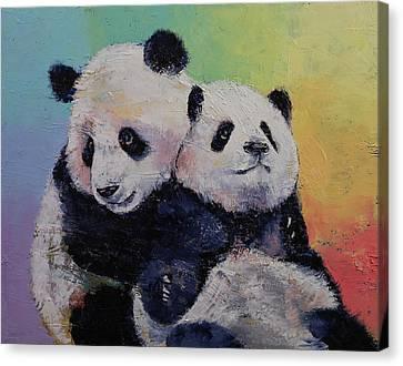 Panda Hugs Canvas Print by Michael Creese