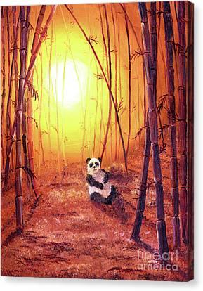 Panda In Golden Glow Canvas Print