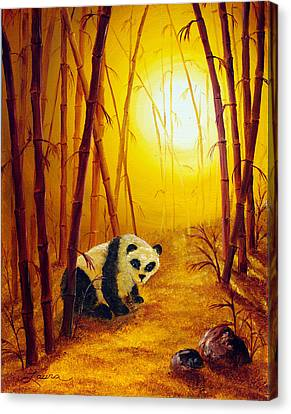 Panda In Sunset Bamboo Canvas Print by Laura Iverson