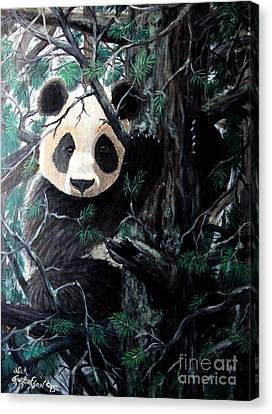 Panda In Tree Canvas Print