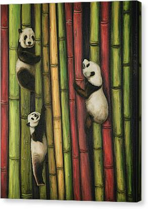 Canvas Print featuring the painting Pandas Climbing Bamboo by Leah Saulnier The Painting Maniac