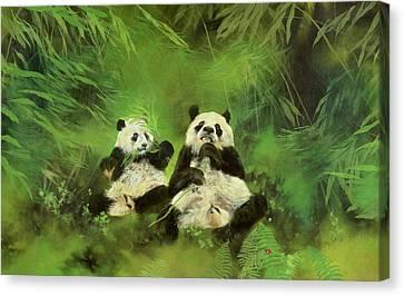 Pandas  Canvas Print by Odile Kidd