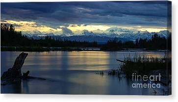 Pano Alaska Midnight Sunset Canvas Print by Jennifer White