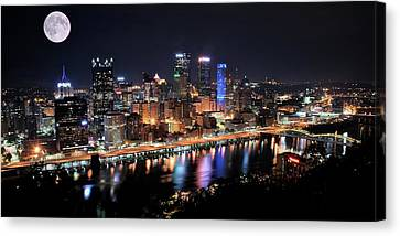 Upmc Canvas Print - Pano And Moon Pittsburgh 2017 by Frozen in Time Fine Art Photography
