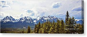 Pano Of The Mountains Surrounding Lake Louise Canvas Print by Scott Pellegrin