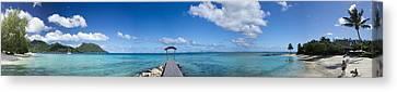 Panorama Of Idyllic Beach In Huahine French Polynesia Canvas Print by David Smith