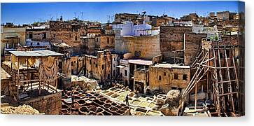 Moroccan Canvas Print - Panorama Of The Ancient Tannery In Fez Morocco by David Smith