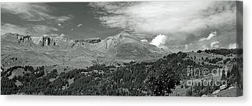Panorama Alps Switzerland In Black And White Canvas Print