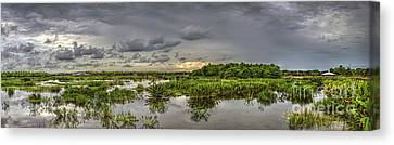 Panorama, Florida Wetlands At Sunset Canvas Print