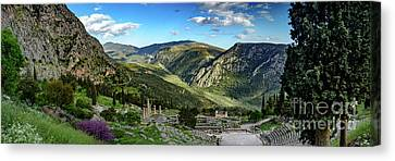 Panorama Of Ancient Delphi And The Temple Of Apollo, Delphi, Greece Canvas Print by Global Light Photography - Nicole Leffer